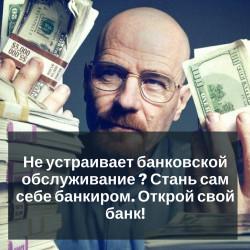 Не устраивает банковское обслуживание ? Стань сам себе банкиром. Открой свой банк!